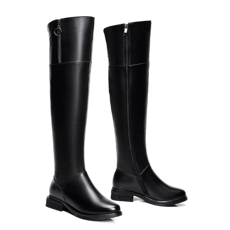 Genuine Leather Thigh High Boots