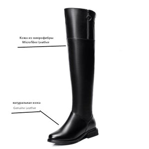 Open image in slideshow, Genuine Leather Thigh High Boots