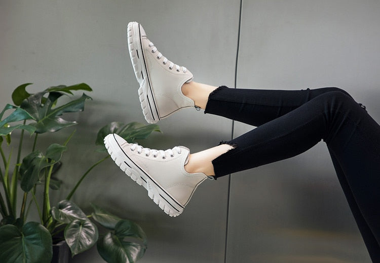Genuine Leather Platform Sneakers