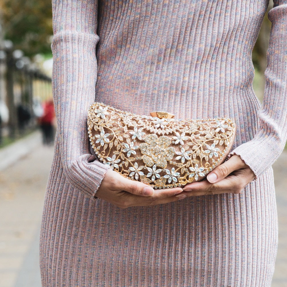 Floral Crystal Evening Bag