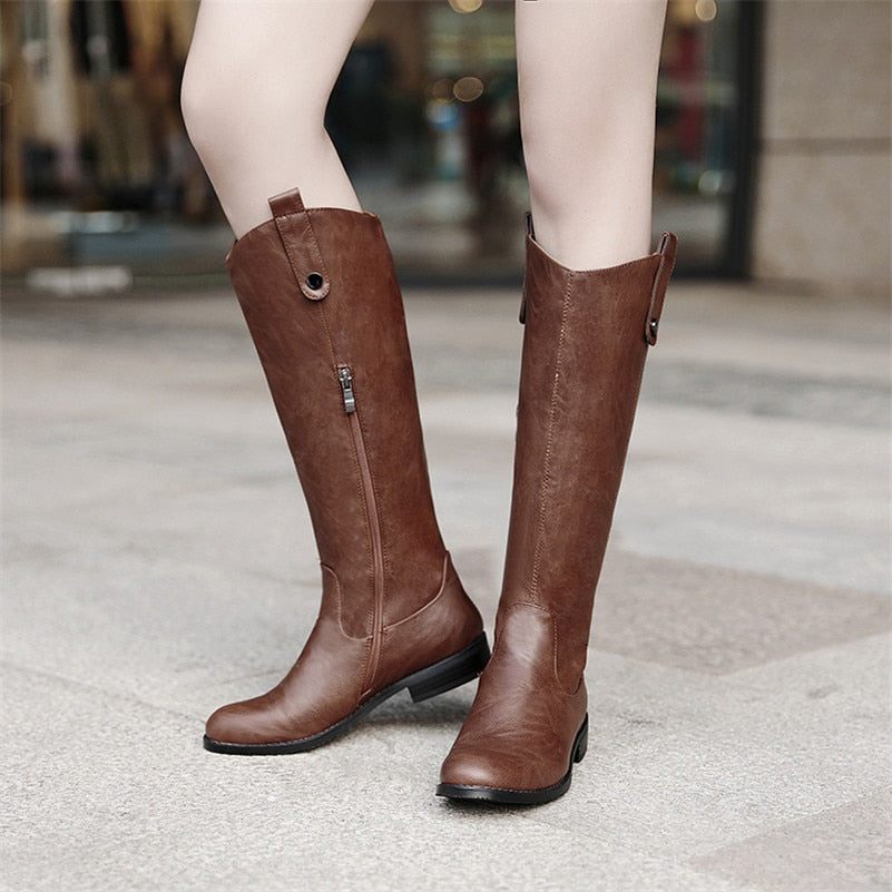 Faux Leather Flat Knee High Boots