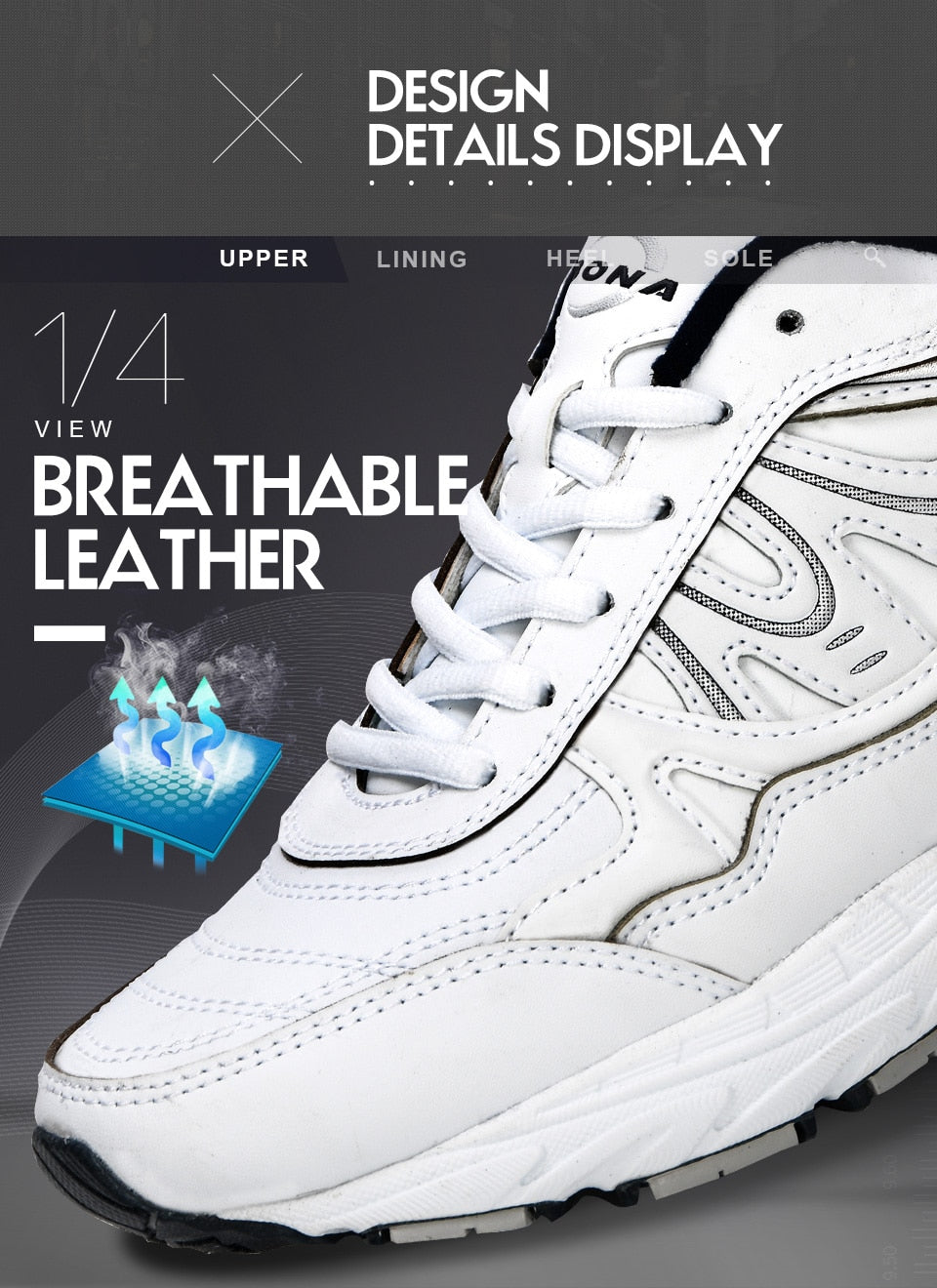 Lightweight Leather Running Sneakers