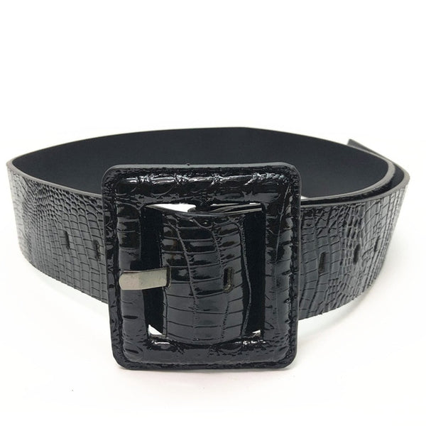 Faux Crocodile Leather Belt