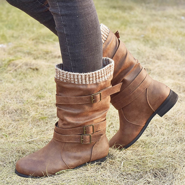 Wide Calf Winter Leather Boots