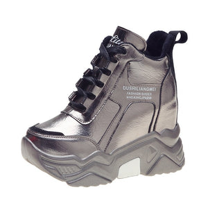Open image in slideshow, Metallic Silver Chunky Platform Sneakers