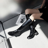 Big Size Patent Leather Knee High Boots