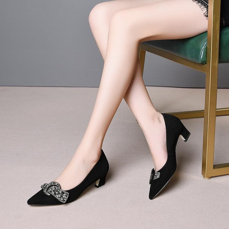 Crystal & Suede Pointed Toe Pumps