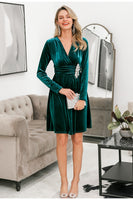 Long Sleeve Ruched Velvet Dress