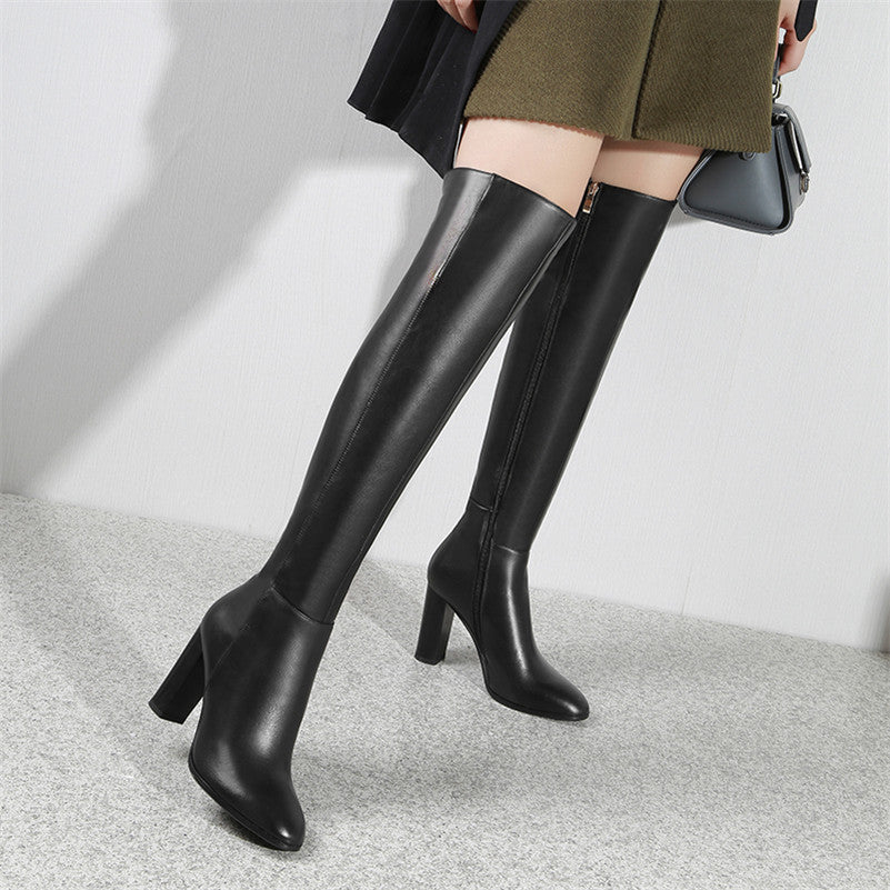 Genuine Leather Thick Heel Boots