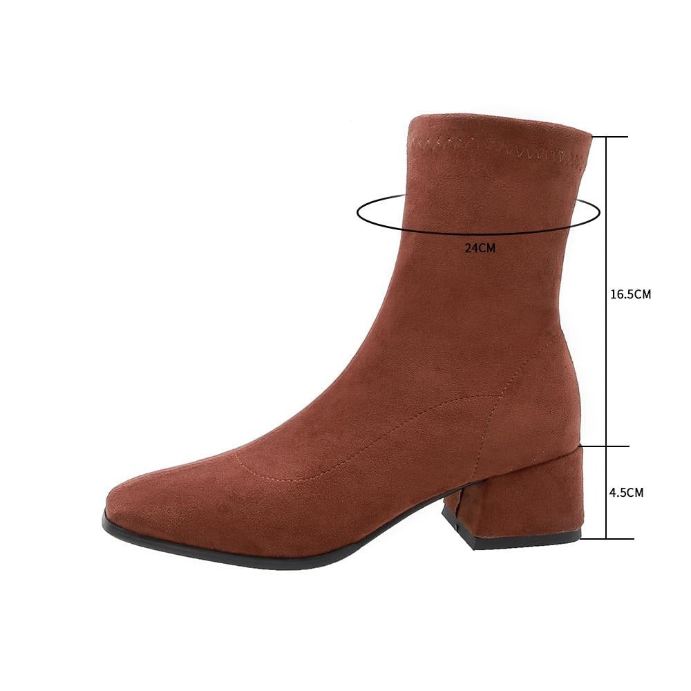 Square Toe Thick Heel Booties