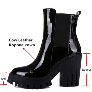 Genuine Leather Platform Boots