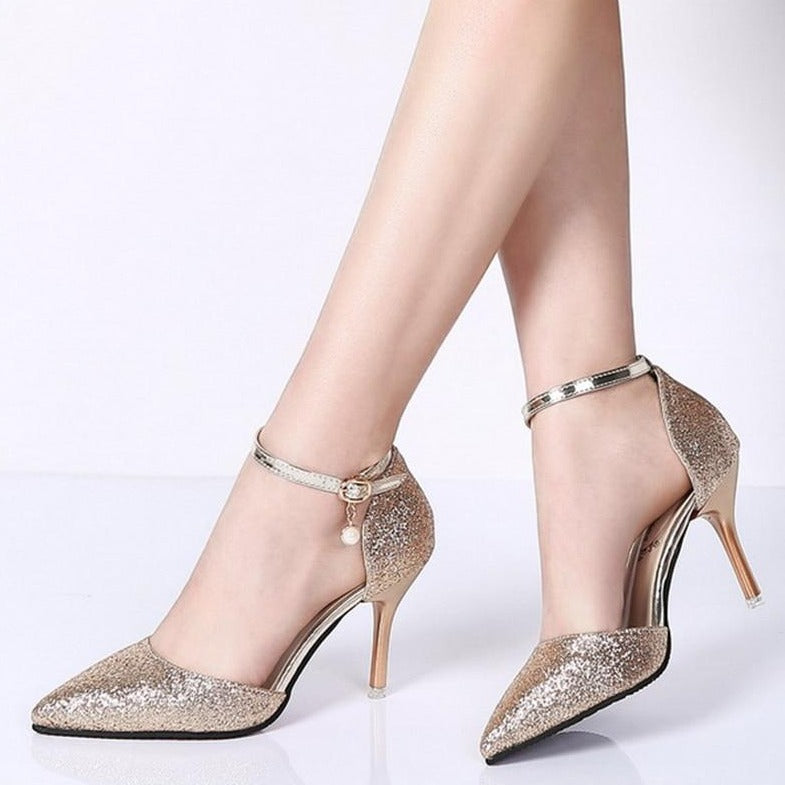 Glitter Ankle Strap Pumps