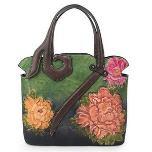 Embossed Genuine Leather Tote Bag