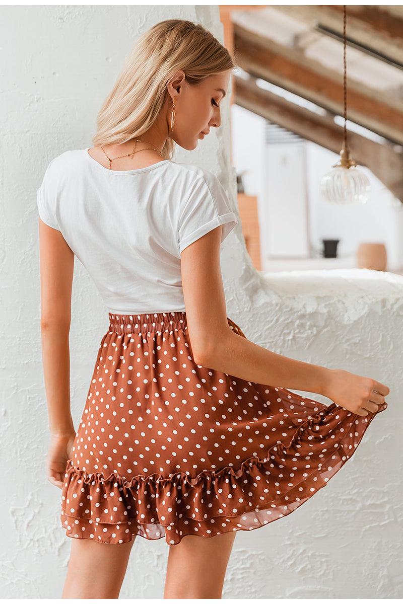 Polka Dot Ruffled Skirt