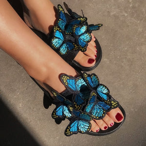Embroidered Butterfly Slides