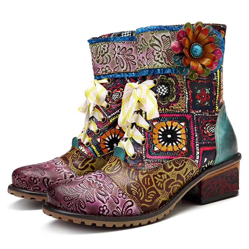 Genuine Leather Boho Cowgirl Boots