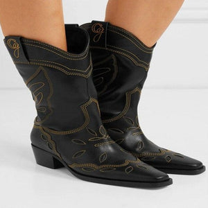 Open image in slideshow, Leather Mid-Calf Cowboy Boots