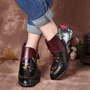 Genuine Leather Floral Booties