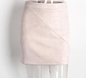 Vintage Leather Suede Pencil Skirt