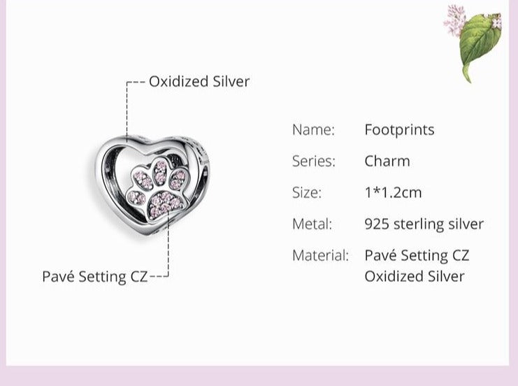 Sterling Silver Paw Heart Charm for Bracelet