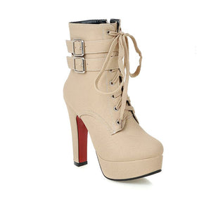 Open image in slideshow, Buckle Strap Lace Up Booties