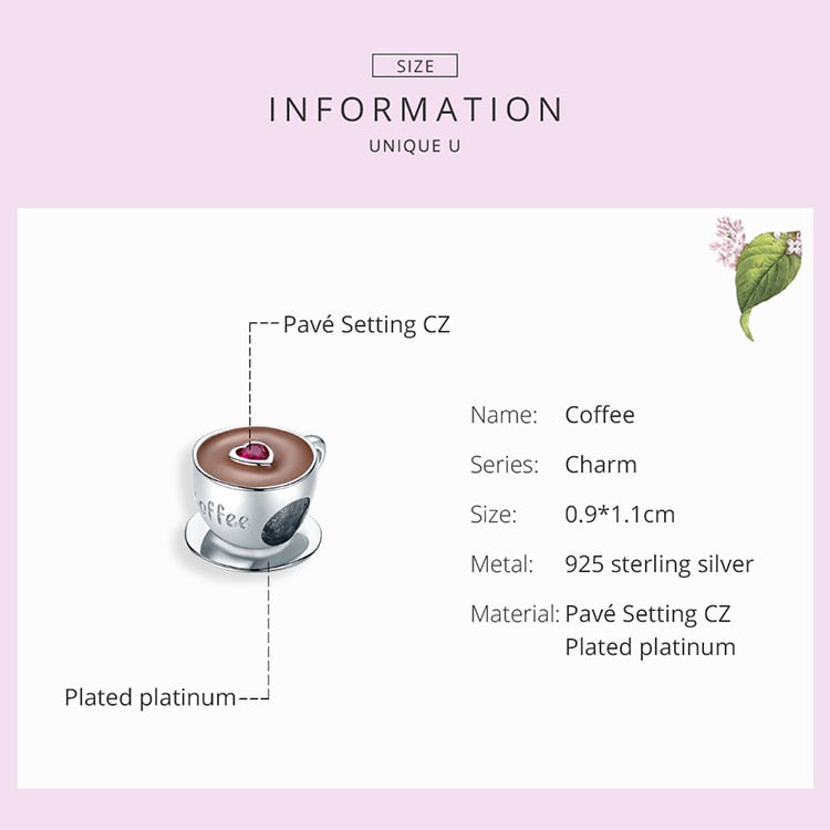 Sterling Silver Enamel Coffee Cup Bead for Bracelet