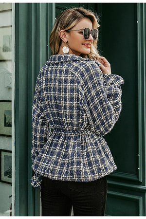 Plaid Tweed Lantern Sleeve Jacket