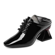 Load image into Gallery viewer, Faux Leather Square Toe Heels