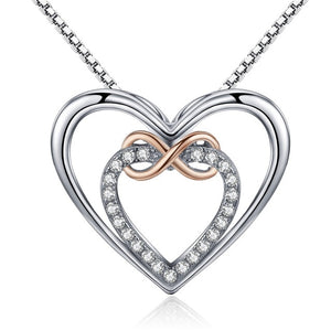 Open image in slideshow, Sterling Silver Infinity Heart Pendant Necklace