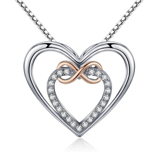 Sterling Silver Infinity Heart Pendant Necklace