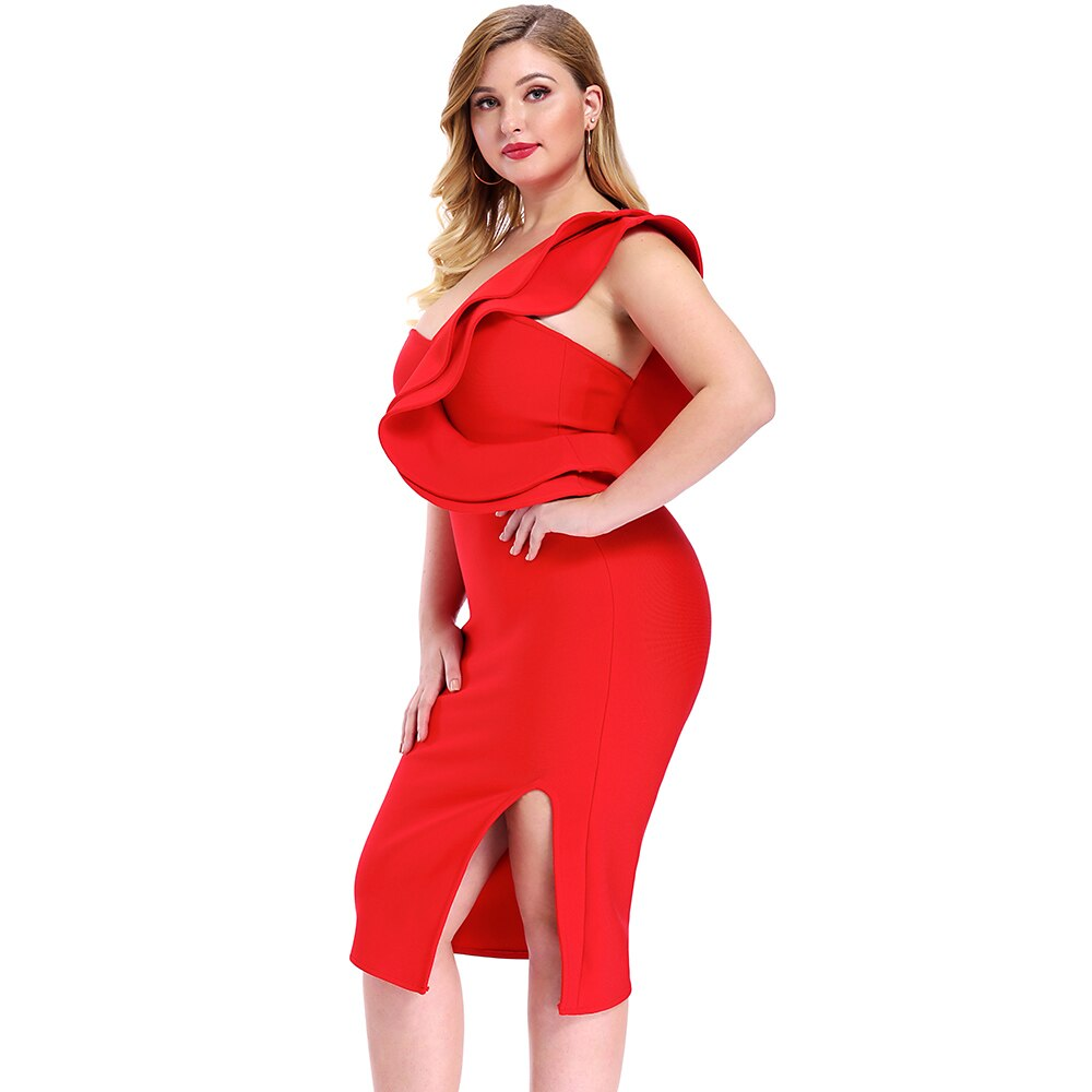 One Shoulder Plus Size Bandage Dress