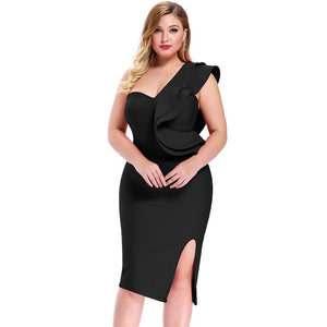 Open image in slideshow, One Shoulder Plus Size Bandage Dress