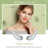 Sterling Silver  Fairy Wings Stud Earrings