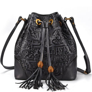 Genuine Leather Bucket Bag