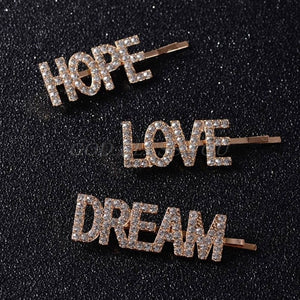 LOVE HOPE DREAM Rhinestone Hair Clip Set