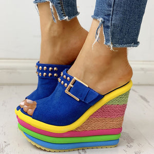 Open image in slideshow, Colorful Wedge Sandals