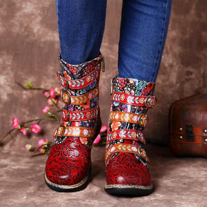 Genuine Leather Floral Ankle Boots