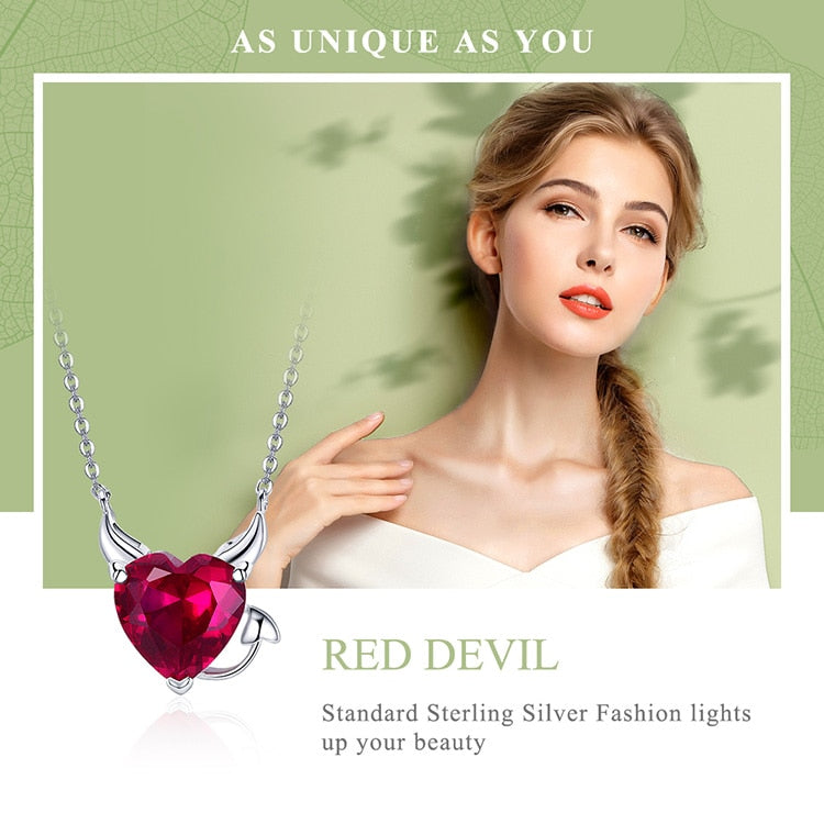Sterling Silver Devil CZ Pendant Necklace