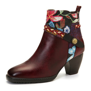Open image in slideshow, Genuine Leather Floral Booties