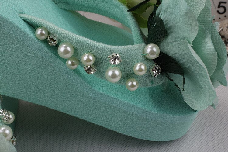 Rose & Pearl Wedge Flip Flops