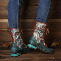 Embossed Genuine Leather Boots