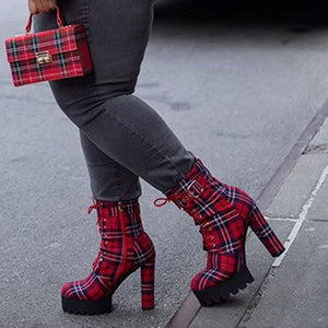 Plaid Canvas Boots