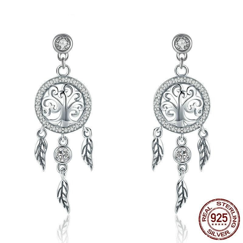 Sterling Silver Dream Catcher Drop Earrings