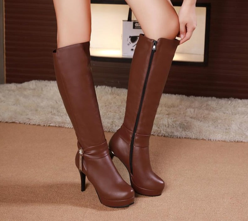 Tassel Knee High Platform Boots