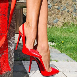 Red Slingback High Heels Pumps