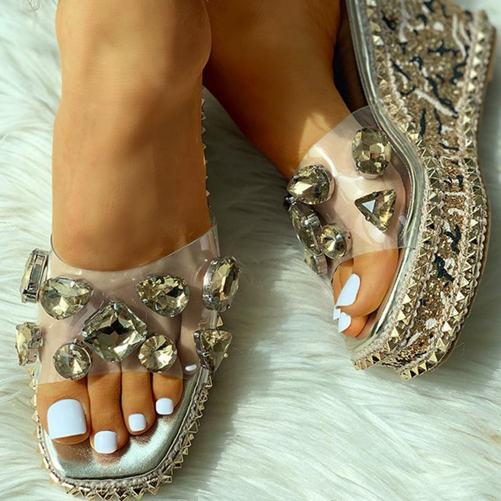 Bling Crystal Wedge Sandals