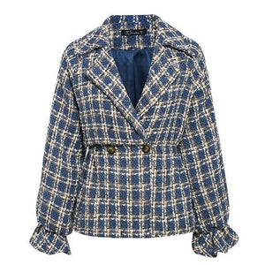 Open image in slideshow, Plaid Tweed Lantern Sleeve Jacket