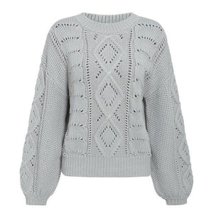 Open image in slideshow, Lantern Sleeve Knitted Sweater