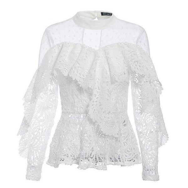 Ruffled Lace & Mesh Embroidery Blouse