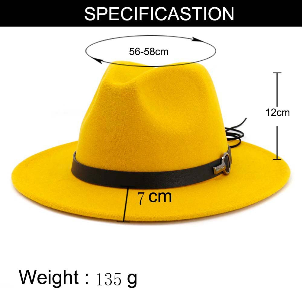 Wide Brim Wool Felt Fedora Hat